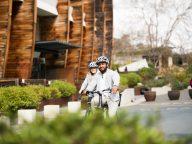 Riding bike in Acton