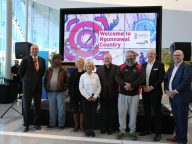 Ngunnawal Community members and dignitaries at the Welcome To Country launch at Canberra Airport